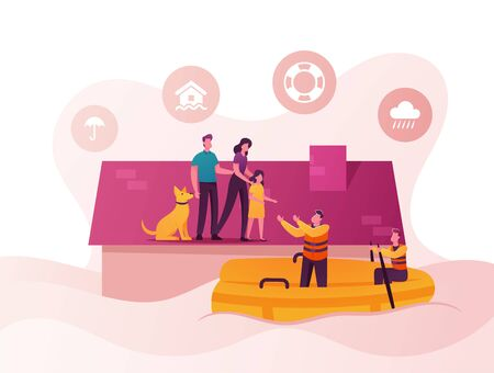 Family Characters Need Help at Flood. Man, Woman, Little Girl and Dog Stand House Roof, Rescues on Boat Evacuate People. Storm Consequences, Global Inundation Evacuation. Cartoon Vector Illustration Ilustração