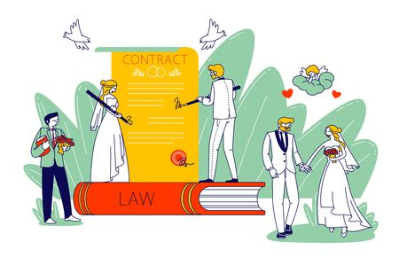 Marriage Contract Signing Concept. Happy Couple Getting Married. Wife and Husband, Groom and Bride Characters Wedding Registration. Engagement Ceremony Celebration. Linear People Vector Illustration Çizim