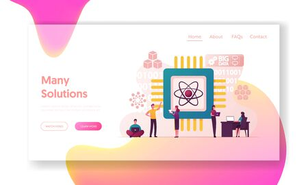 Quantum Computing Landing Page Template. Optical Technology, Photonics Research. Tiny Characters Engineers and Scientists Working with Quantum Computer Chip. Cartoon People Vector Illustration