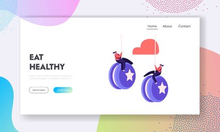 Failure, Disruption of Healthy Eating and Lifestyle Landing Page Template. Tiny Female Characters Hang on Huge Yo-yo