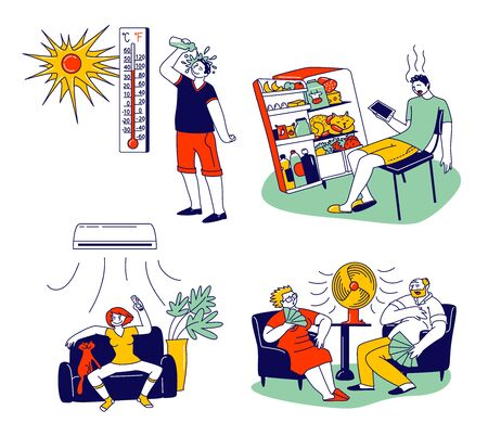 Characters in Summer Time Hot Period Concept. Sweltering in Heat Young and Aged People Sitting on Sofa Use Fans, Using Conditioner, Pouring Water to Get a Little Bit Cool. Linear Vector Illustration