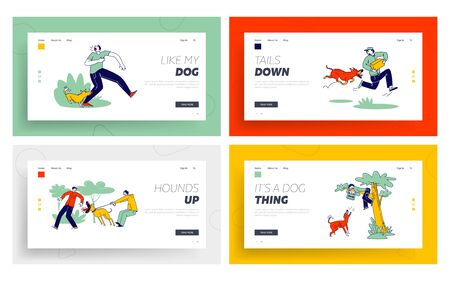 Dog Attack Landing Page Template Set. Aggressive Animals Biting and Barking on Characters. Delivery Man with Parcel 矢量图片