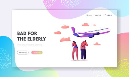 Characters Suffering of Noise Pollution Landing Page Template. Big City Stress, Dwellers Covering Ears 일러스트