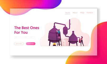 Essential Oil Creation Landing Page Template. Characters Use Distillation Apparatus for Mixing Herbs and Organic Ingredients for Making Cosmetics, Herbal Cosmetic. Cartoon People Vector Illustration