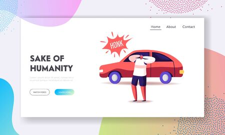 Big City Social Problem of Uproar Landing Page Template. Male Character Cover Ears to Stop Hearing Car Honk, Loud Sounds and Tinnitus. Man Suffer of Noise Pollution. Cartoon People Vector Illustration