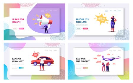 Noise Pollution Landing Page Template Set. Tiny Characters Cover Ears to Avoid Annoying Sounds