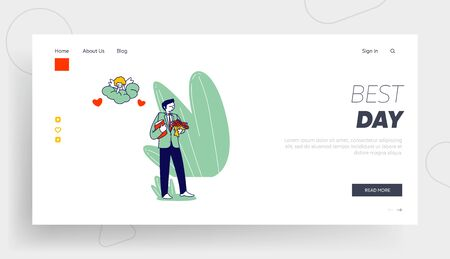 Marriage Contract Love Human Relation Landing Page Template. Groom Character in Festive Costume Hold Bouquet Ilustrace
