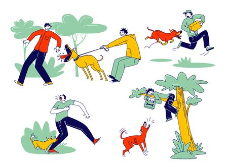Dog Attack Concept. Aggressive Animals Biting and Barking on Male Characters. Delivery Man with Parcel in Hands Escaping of Angry Dog, Handyman Sitting on Tree. Linear People Vector Illustration