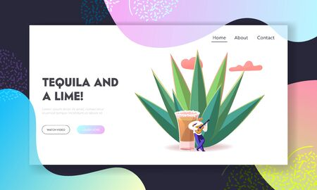 Mexican Culture Tourism, Latin Landmark Landing Page Template. Tiny Male Character Wearing Sombrero Playing Guitar at Huge Agave Azul Plant and Tequila Shot, Cinco de Mayo. Cartoon Vector Illustration