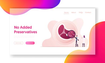 Scientific Innovation Landing Page Template. Tiny Characters Inspecting Artificial Meat in Lab