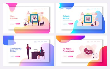 Quantum Computing Landing Page Template Set. Optical Technology, Photonics Research. Tiny Characters Engineers and Scientists Working with Quantum Computer Chip. Cartoon People Vector Illustration