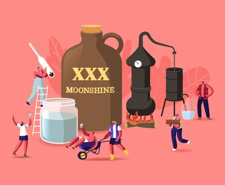 Tiny Male Female Characters Make Moonshine in Home Conditions Using Accessories for Homemade Alcohol Production. Drunk People, Woman with Alcohol Meter, Man in Wheelbarrow. Cartoon Vector Illustration