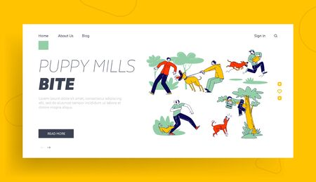 Dog Attack Landing Page Template. Aggressive Animals Biting and Barking on Male Characters. Delivery Man with Parcel