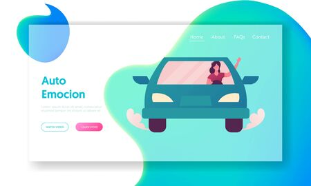 Young Woman Driving Car Landing Page Template. Female Driver Character Use Transport Sharing Service for Transportation in City. Taxi, Automobile Rental and Share. Cartoon Vector Illustration