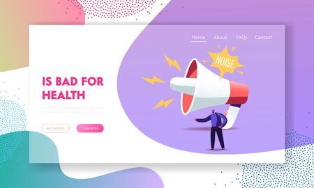 Loudspeaker Making Strong Uproar Landing Page Template. Tiny Male Character stand at Huge Megaphone