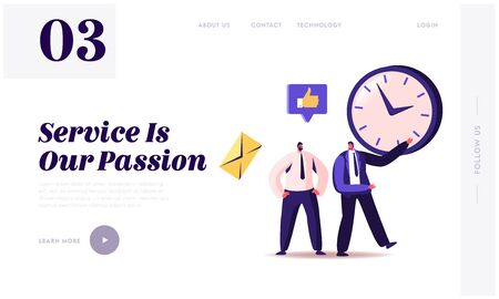 Time Management, Sales Funnel, Procrastination in Business Landing Page Template. Businessman Character Point on Clock