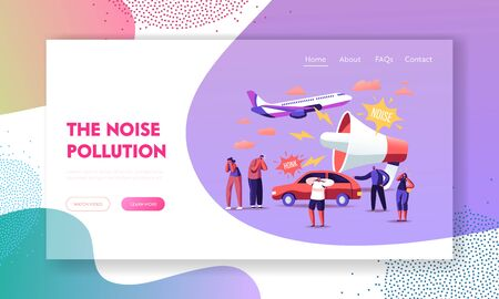 Noise Pollution Landing Page Template. Tiny Characters Covering Ears to Avoid Annoying Sounds made by Transport and Huge Loudspeaker. People Suffer of Loud Noise Tinnitus. Cartoon Vector Illustration Illustration