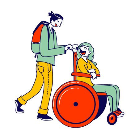 Man Pushing Disabled Woman Sitting in Wheelchair Hurry to Plane Boarding. Love, Family, Human Relations, Disability. Boyfriend and Handicapped Girlfriend Characters. Linear People Vector Illustration