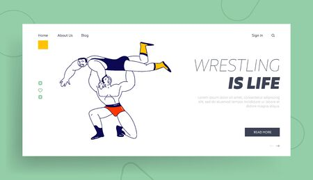 Male Characters Wrestling Fight Landing Page Template. Sportsman Holding Opponent above Head during Competition. Sport, Show Performance Battle on Professional Arena. Linear People Vector Illustration