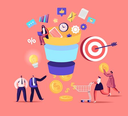 Tiny Characters Put Money into Huge Sales Funnel. Digital Marketing Lead Generations Strategy with Buyers, Conversion Rate Optimization Concept. Funnel Marketing. Cartoon Vector People Illustration 向量圖像
