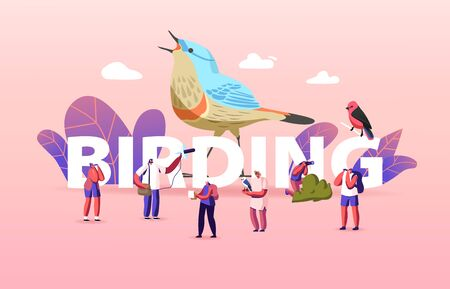 Birding Concept. Group of Friends Characters Camping and Hiking Using Binoculars Watching Bird