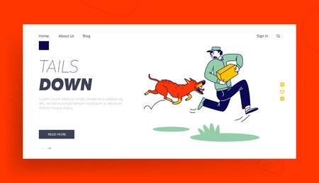 Danger of Mailman Work Landing Page Template. Delivery Man Character with Parcel in Hands Run Away of Aggressive Dog. Angry Animal Protect Territory of Stranger, Pet Attack. Linear Vector Illustration