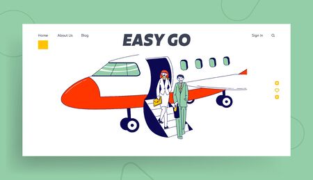Business Travel, Abroad Trip Landing Page Template. Businesspeople Characters Stand on Airplane Ladder Waiting Meeting Person in Airport. Colleagues Destination. Linear People Vector Illustration