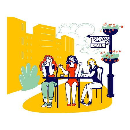 Female Characters Sitting in Outdoor Cafe Drinking Coffee and Listening Boring Annoying Talk of Girl Friend. Bored Conversation, Boredom and Irritation Concept. Linear People Vector Illustration
