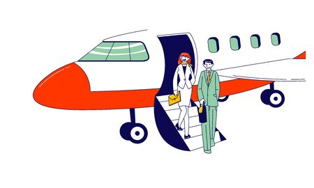 Male and Female Businesspeople Characters Stand on Airplane Ladder Waiting Meeting Person in Airport. Business Travel, Abroad Trip Concept. Colleagues Destination. Linear People Vector Illustration