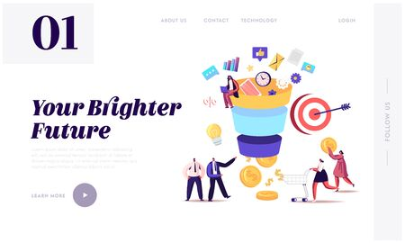 Conversion Rate Optimization Landing Page Template. Tiny Characters Put Money into Huge Sales Funnel. Digital Marketing Lead Generations Strategy, Funnel Marketing. Cartoon Vector People Illustration
