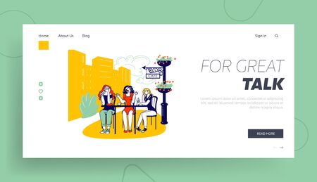 Annoying Talk Landing Page Template. Female Characters Sitting in Cafe Drinking Coffee and Listening Boring Girl Friend