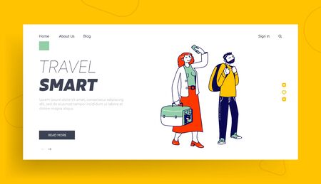 Passengers Prepare for Airplane Flight Landing Page Template. Characters Waiting Plane Boarding in Queue with Luggage