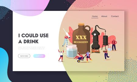 Tiny Characters Make Moonshine Conditions Landing Page Template. Accessories for Homemade Alcohol Production