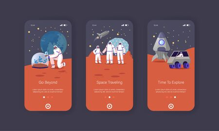 Mars Colonization Mobile App Page Onboard Screen Template. Astronauts Family Characters on Red Planet Surface. Father Mother Child in Space Suits on Station Concept. Cartoon People Vector Illustration Иллюстрация