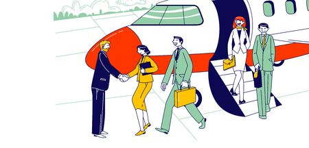 Businesspeople Characters Leaving Airplane Shaking Hand with Meeting Person on Ground. Business Travel