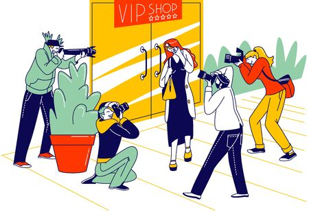 Celebrity Leaving VIP Shop Attacked with Paparazzi Characters Photographing on Cameras. Famous People Illustration