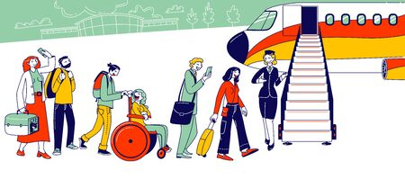 People Stand in Queue on Plane in Airport. Characters Boarding on Airplane. Travelers Going to Aircraft, Passengers Vector Illustration