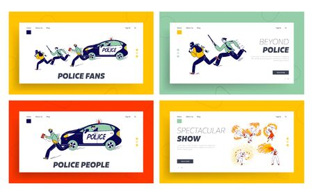 Fire Show Entertainment, Policemen Pursuit Robber on Duty Landing Page Template Set. Characters Dancing