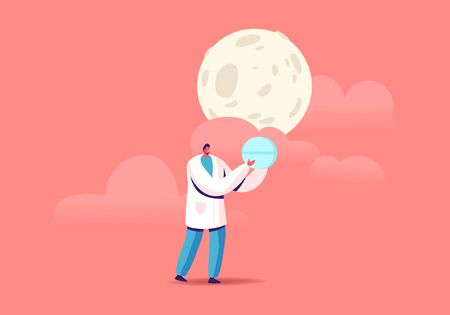 Tiny Doctor Male Character Carry Huge Blue Pill under Full Moon in Sky. Insomnia Treatment, Problem with Sleep. Medication Pharmaceutic Remedy for Good Dream at Night Time. Cartoon Vector Illustration