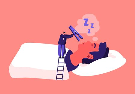 Tiny Male Character Stand on Ladder Put Huge Pin on Nose of Snoring Man Lying in Bed with Open Mouth. Snore Disease Concept. Breathing Health Disorder, Annoyance. Cartoon People Vector Illustration