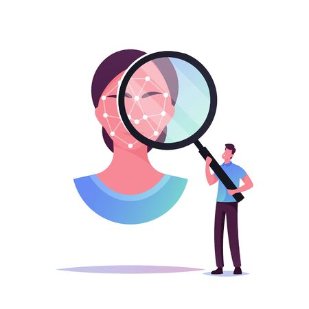 Tiny Male Character Looking through Huge Magnifying Glass on Woman Face with Polygonal Ornament for Biometric Identification. Facial Id Verification, Scanning. Cartoon People Vector Illustration Иллюстрация