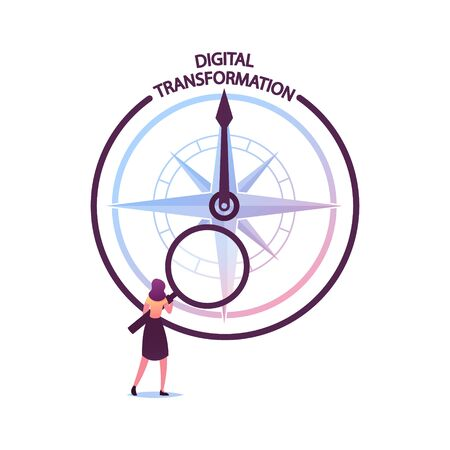 Tiny Female Character with Huge Magnifying Glass Look on Compass with Digital Transformation Direction. Global Digitization in Business Process, Optimization Solution. Cartoon Vector Illustration