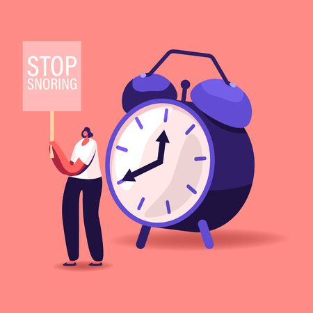 Tiny Female Character Stand at Huge Alarm Clock with Banner Stop Snoring in Hands. Breathing Disease, Noise Pollution Asleep Angry Woman Protesting against Sleeping Snore. Cartoon Vector Illustrations