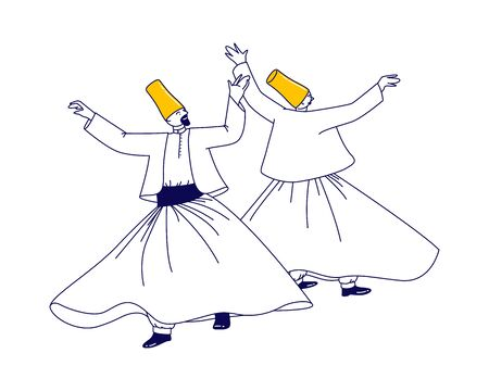 Whirling Dervish Characters in Traditional Outfit Dancing Arab Turkish Dance Isolated on White Background, Holy Month of Muslim Community, Ramadan Kareem Celebration. Linear People Vector Illustration