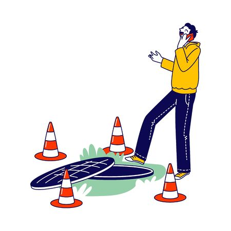 Human Carelessness Concept, Unmindful Male Character Step into Road Manhole Speaking by Smartphone Ignoring Traffic Cones Fencing. Danger on Road, Harmful Gadget Impact. Linear Vector Illustration