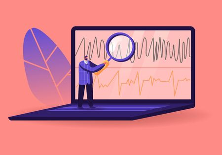 Lie Detector Operator Tiny Male Character Looking through Huge Magnifying Glass on Polygraph Chart on Laptop Screen. Examining Technician Expert Reading Observations. Cartoon Vector Illustration