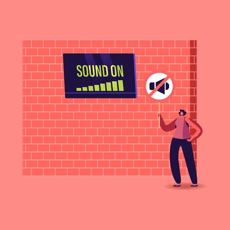 Female Character Stand at Brick Wall with Tv on High Level Sound On and Symbol of Megaphone Suffering of Noise Pollution. Big City Dweller Hearing Loud Sounds and Tinnitus. Cartoon Vector Illustration