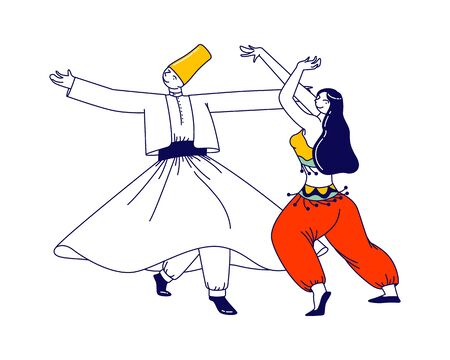 Arabic Dance Concept. Whirling Dervish in Traditional Outfit and Girls in Arab Dress Dancing with Raising Hands. Characters Moving Body, Muslim Artist Performance. Linear People Vector Illustration 向量圖像