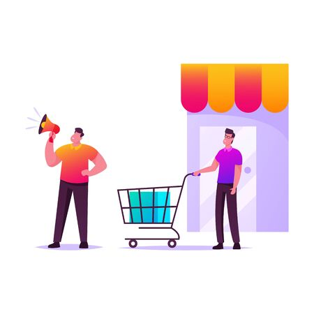 Customer Journey, Alert Advertising Campaign, Pr Promotion, Public Relation Affairs. Man Character Shouting to Loudspeaker, Buyer with Shopping Trolley at Store. Cartoon People Vector Illustration