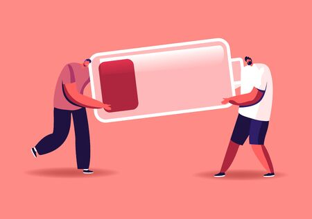 Fatigued Businessmen Characters Carry Huge Battery with Low Red Charging Level. Deadline Overload and Poor Life Energy Concept. Tired Employees Working from Last Forces. Cartoon Vector Illustration